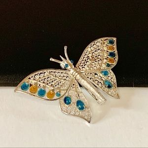 Sterling Germany Articulated Butterfly Brooch